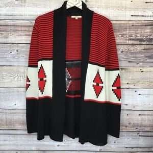 BB Dakota Aztec Print Cardigan Small Black Red